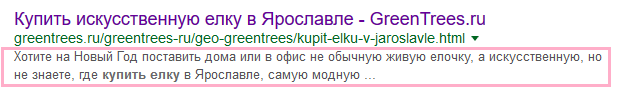 Пример отображения description в сниппете Google